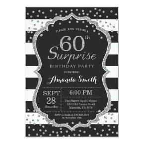 Surprise 60th Birthday Invitation. Silver Glitter Invitation