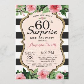 Surprise 60th Birthday Invitation Women Floral