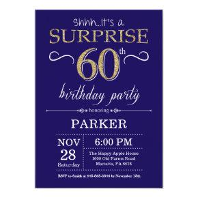 Surprise 60th Birthday Navy Blue and Gold Glitter Invitation