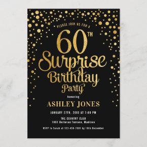 Surprise 60th Birthday Party - Black & Gold Invitation