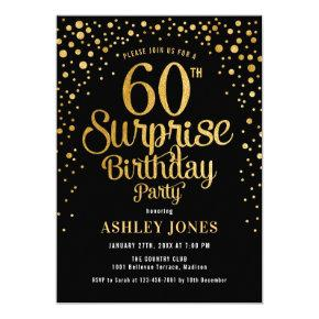 Surprise 60th Birthday Party - Black & Gold Invitation