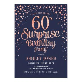 Surprise 60th Birthday Party - Navy & Rose Gold Invitation