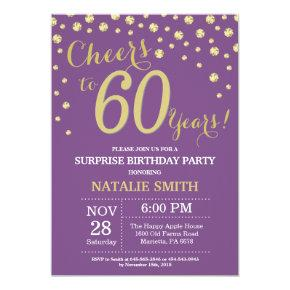 Surprise 60th Birthday Purple and Gold Diamond Invitation