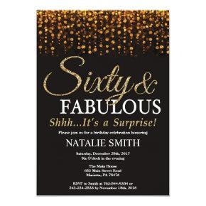 Surprise 60th Birthday Sixty and Fabulous Gold Invitation