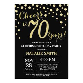 Surprise 70th Birthday Black and Gold Diamond Invitations