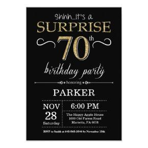 Surprise 70th Birthday Invitations Black and Gold