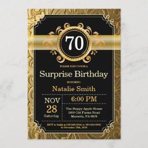 Surprise 70th Birthday Invitation Black and Gold