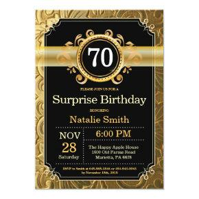 Surprise 70th Birthday Invitation Black and Gold