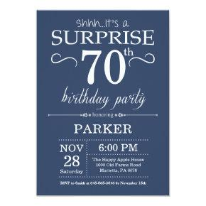 Surprise 70th Birthday Invitations Blue