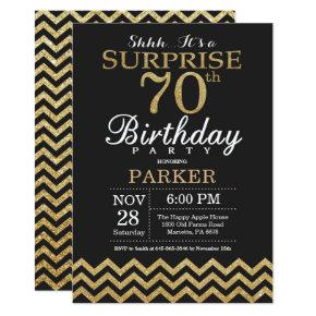 Surprise 70th Birthday Invitations Gold Glitter