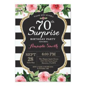 Surprise 70th Birthday Invitations Women Floral