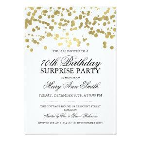 Surprise 70th Birthday Party Gold Foil Confetti Invitation