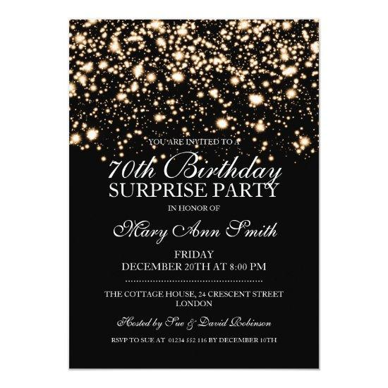 Surprise 70th Birthday Party Gold Midnight Glam Invitations