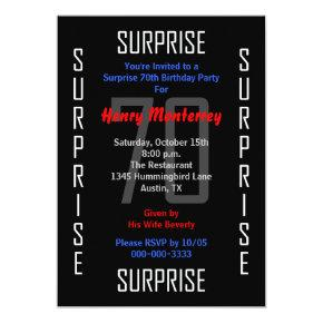 Surprise 70th Birthday Party Invitations 70
