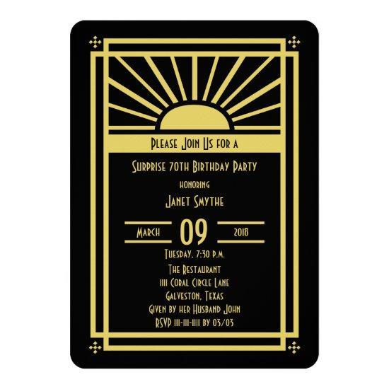 Surprise 70th Birthday Party Invitations Art Deco