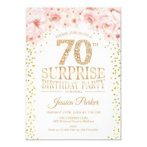 Surprise 70th Birthday Party - White Gold Pink Invitation
