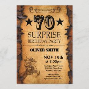 Surprise 70th Western Birthday Invitation