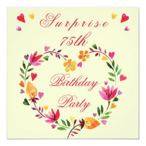 Surprise 75th Birthday Watercolor Floral Heart Invitations