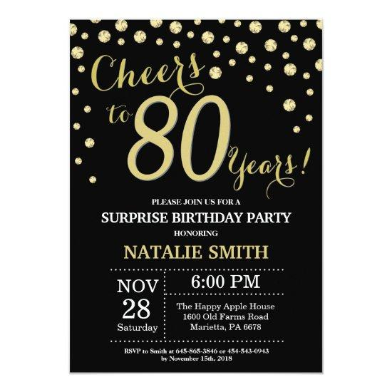 Surprise 80th Birthday Black and Gold Diamond Invitations