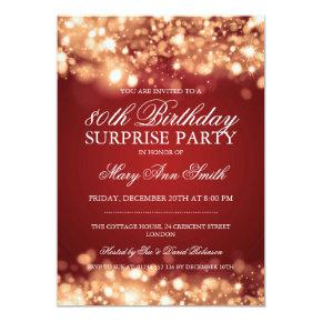 Surprise 80th Birthday Gold & Red Sparkling Lights Invitations