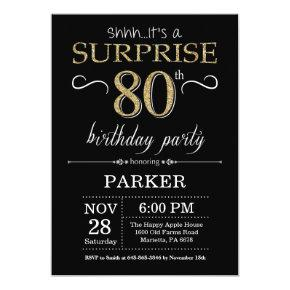 Surprise 80th Birthday Invitation Black and Gold