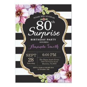 Surprise 80th Birthday Invitation Floral Gold