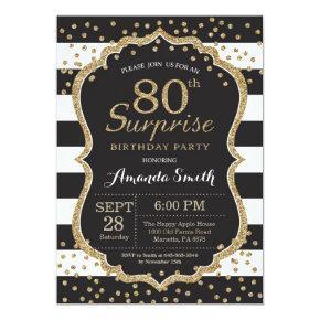 Surprise 80th Birthday Invitation. Gold Glitter Card