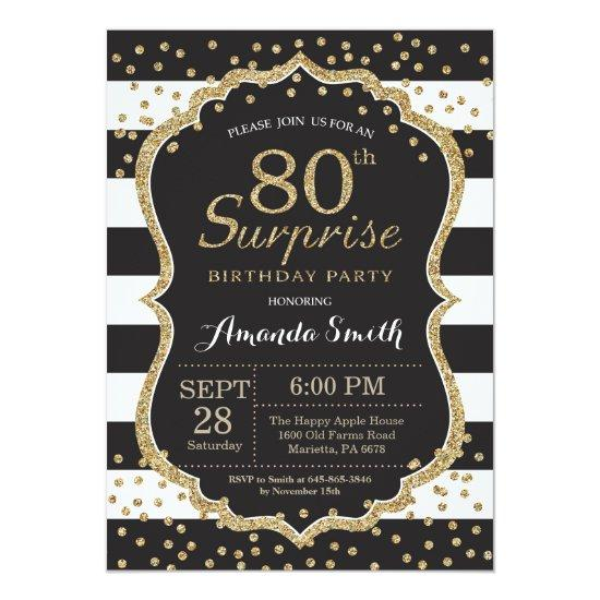 Surprise 80th Birthday Invitation. Gold Glitter