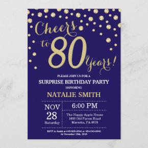 Surprise 80th Birthday Navy Blue and Gold Diamond Invitation
