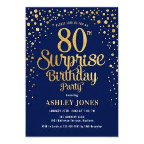 Surprise 80th Birthday Party - Navy & Gold Invitation