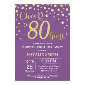 Surprise 80th Birthday Purple and Gold Diamond Invitations