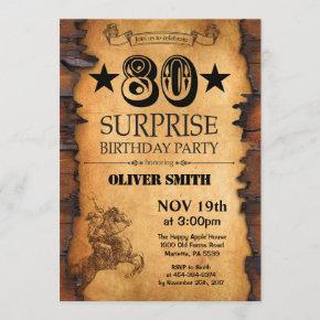 Surprise 80th Western Birthday Invitation