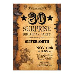 Surprise 80th Western Birthday Invitation