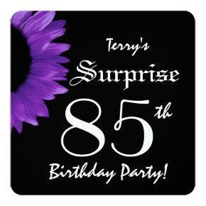 SURPRISE 85th Birthday Party PURPLE Sunflower A08B Invitation