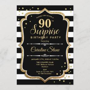 Surprise 90th Birthday - Black White Gold Invitation