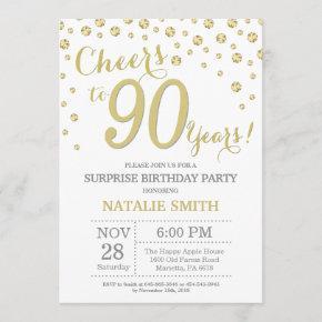 Surprise 90th Birthday Gold Glitter Diamond Invitation