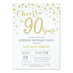 Surprise 90th Birthday Gold Glitter Diamond Invitation