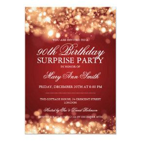 Surprise 90th Birthday Gold & Red Sparkling Lights Card