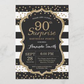 Surprise 90th Birthday Invitation. Gold Glitter Invitation