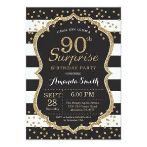 Surprise 90th Birthday Invitation. Gold Glitter Invitation