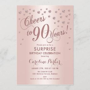Surprise 90th Birthday Party - Rose Gold Invitation