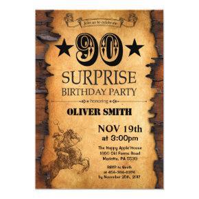 Surprise 90th Western Birthday Invitation