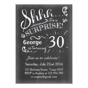 Surprise birthday Invitations 30 Chalkboard Rustic