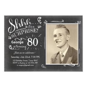 Surprise birthday Invitations 80 Chalkboard Rustic
