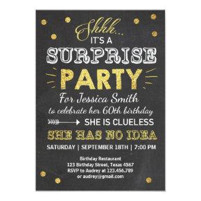 Surprise birthday Invitations Chalkboard Gold