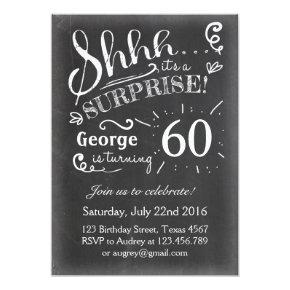 Surprise birthday Invitations Chalkboard Rustic
