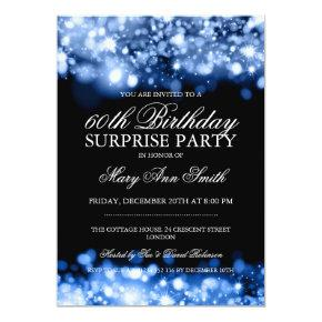 Surprise Birthday Party Blue Sparkling Lights Invitations