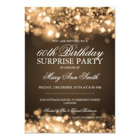 Surprise Birthday Party Gold Sparkling Lights Invitations