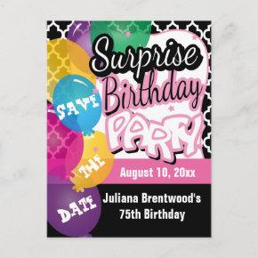 Surprise Birthday Party in Pink | Save the Date Announcement PostInvitations
