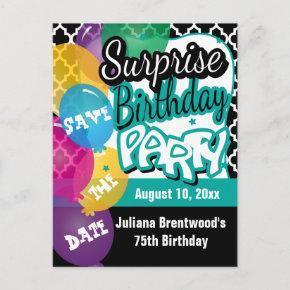 Surprise Birthday Party in Teal | Save the Date Announcement PostInvitations